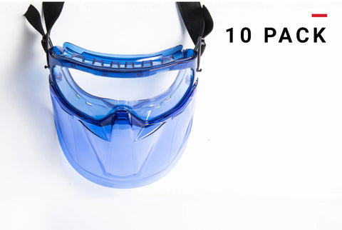 Safety Goggles with Face Shield 10-pack