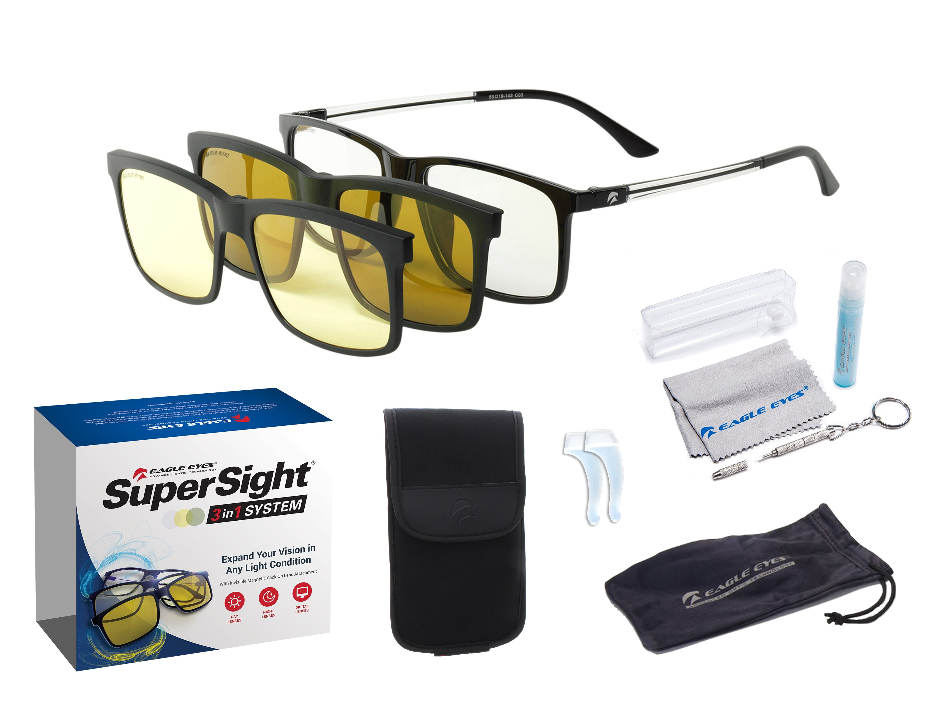 da3f11949f 3in1 SuperSight® Magnetic Eyewear System - Sun Night Computer Lenses ...