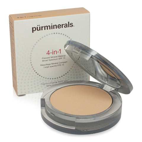 PURMINERALS ~ FACE FOUNDATION 4 IN 1 PRESSED MINERAL MAKEUP SPF15 ~ LIGHT