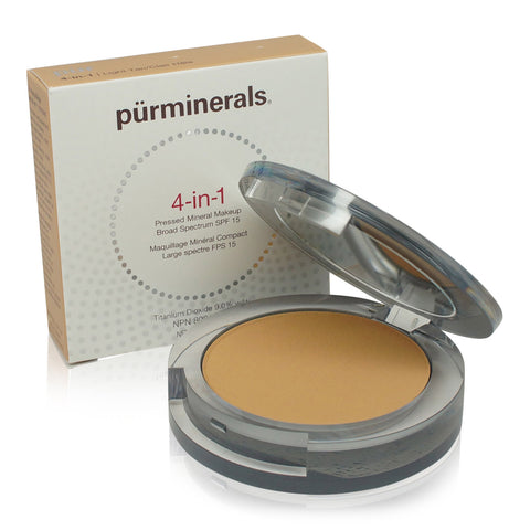 PURMINERALS ~ FACE FOUNDATION 4 IN 1 PRESSED MINERAL MAKEUP SPF15- LIGHT TAN