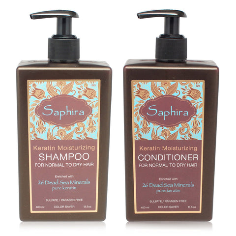 SAPHIRA ~  KERATIN MOISTURIZING SHAMPOO AND CONDITIONER 13.5 OZ COMBO PACK