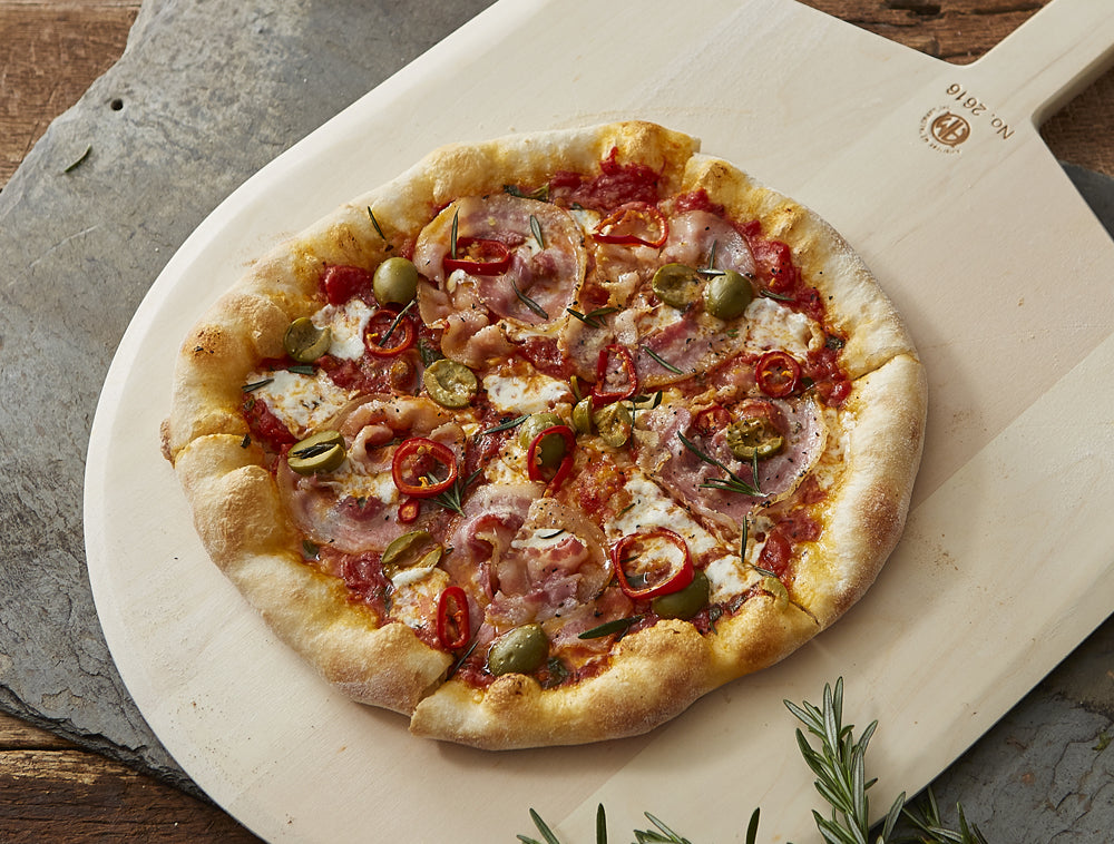 fresno chili and pancetta pizza