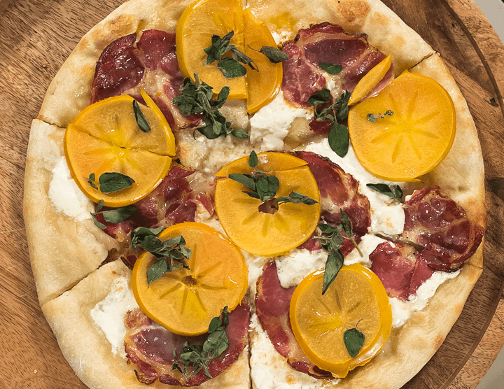 Coppa and Persimmon Pizza