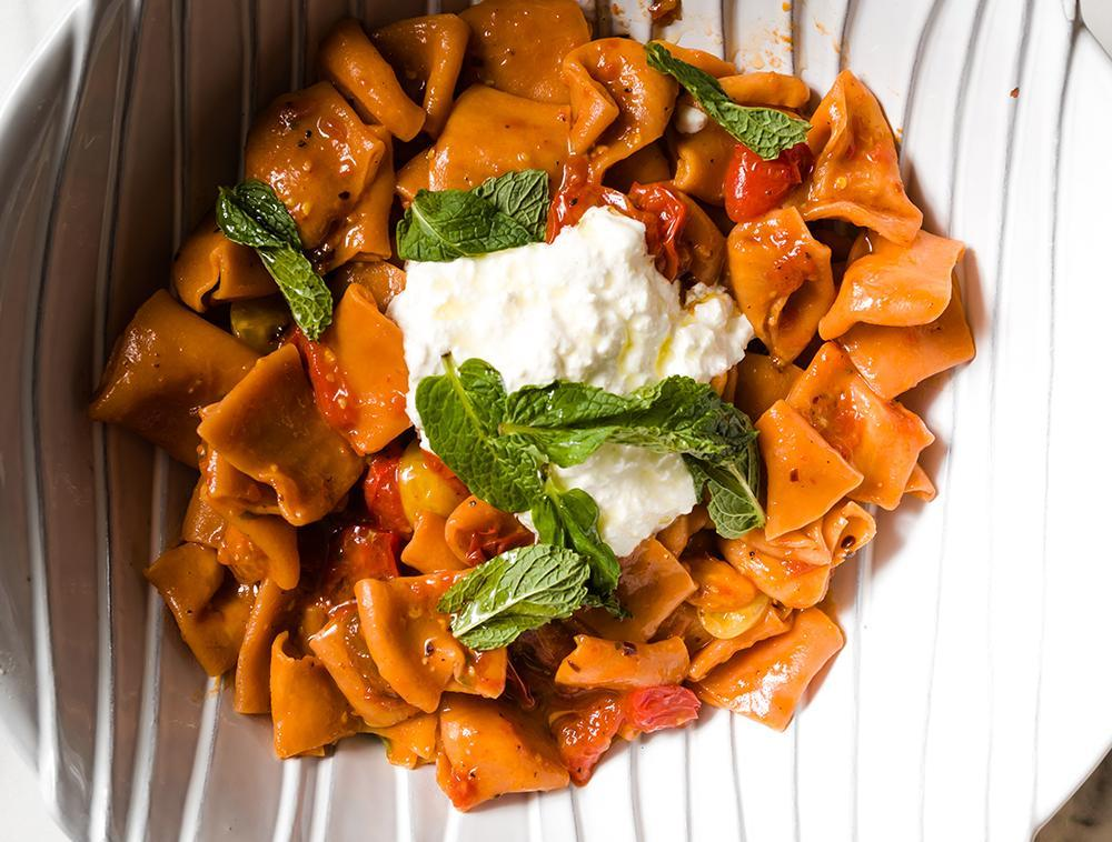 Tomato Paccheri Pasta + Fig & Pear Salad for 2