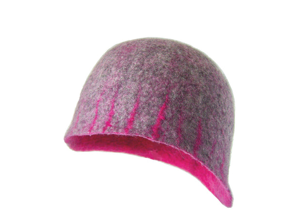 Cloche Hat - Hand Felt Design - Natural grey Merino Wool with a touch of raspberry on the brim. Pink on the inside. Simple and beautiful design. 1920's inspiration. Sustainability: handmade using undyed grey Merino wool, dyed Merino wool, time and care.  Ethical clothing.