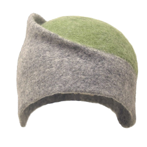Felt Design Hat - Natural grey Merino Wool with a yellow circle top. Handmade using undyed grey Merino wool, dyed green Merino wool. Crafted with care.  Slow fashion. Sustainable fashion
