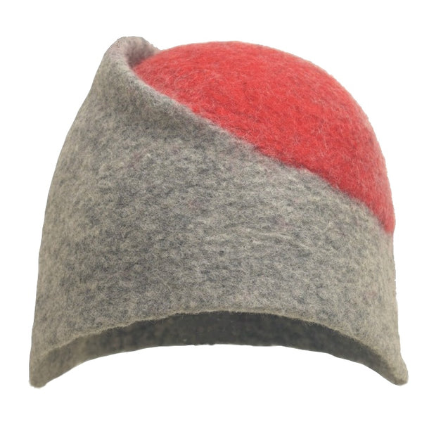 Felt Design Hat - Natural grey Merino Wool with a yellow circle top. Handmade using undyed grey Merino wool, dyed red Merino wool. Crafted with care.  Slow fashion. Sustainable fashion