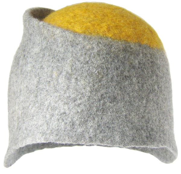 Felt Design Hat - Natural grey Merino Wool with a yellow circle top. Handmade using undyed grey Merino wool, dyed yellow Merino wool. Crafted with care.  Slow fashion. Sustainable fashion