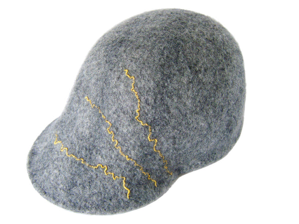 Visor Hat. Handmade felt design using undyed grey Merino wool, dyed Merino and up cycled Donegal Tweed.