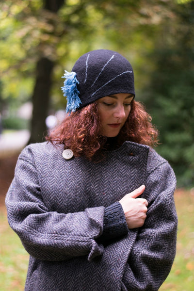 Felt Design Hat - 1920:s inspiration. Handmade using black Merino wool and turquoise tweed remnants. Crafted with care.  Slow fashion. Sustainable fashion