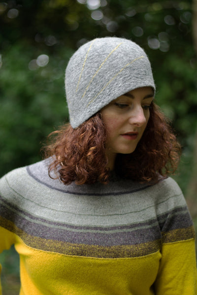 Felt Design Hat - 1920:s inspiration. Handmade using Merino wool and tweed remnants. Crafted with care.  Slow fashion. Sustainable fashion