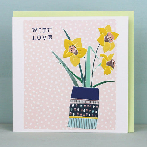 With Love - Daffodils Easter Card (Available as a single card or pack of 4)