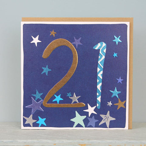 21st Birthday card - stars