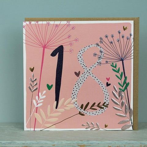 18th Birthday card - flowers