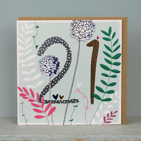 21st Birthday card - flowers