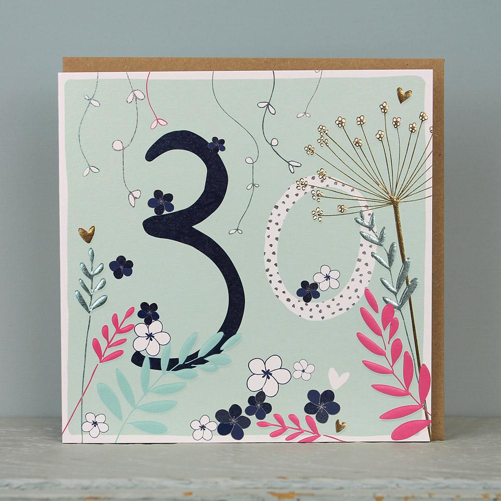 30th Birthday card - flowers