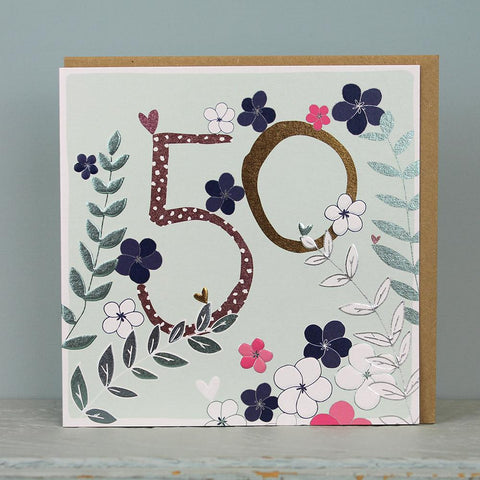 50th Birthday card  - flowers