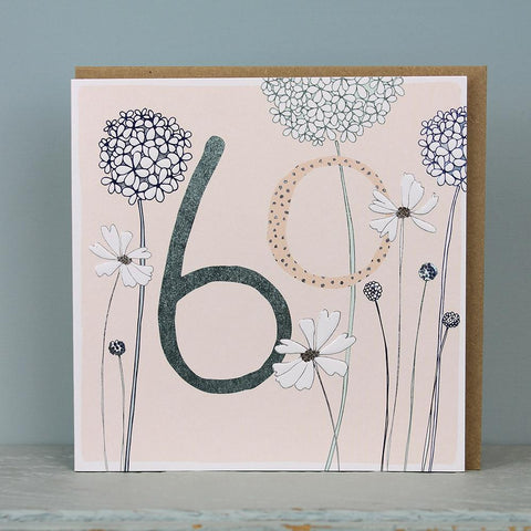 60th Birthday card  - flowers