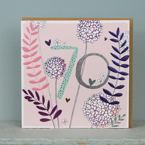 70th Birthday card  - flowers