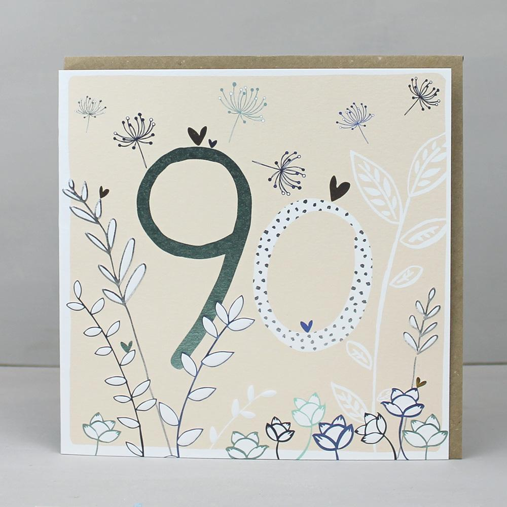 90th Birthday card  - flowers