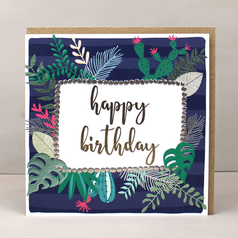 Happy Birthday  Flowers - navy stripe