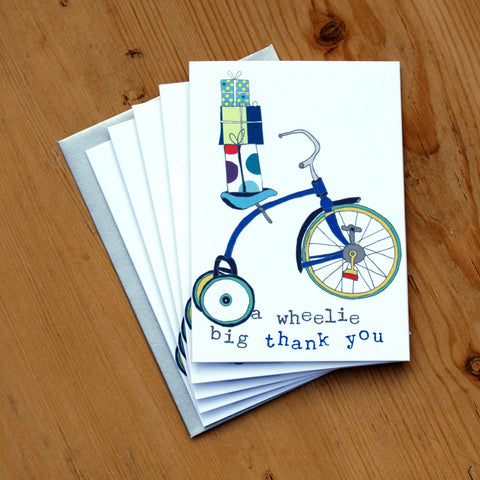 5 Mini Card Pack - boys wheelie big thank you
