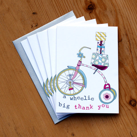 5 Mini Card Pack - girls wheelie big thank you