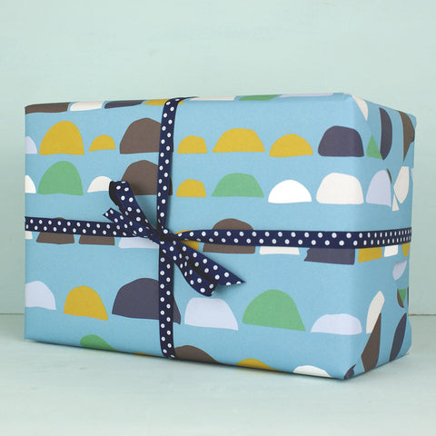 Bumps pattern blue Gift Wrap (2 sheets)