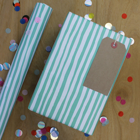 Gift Wrap - Green and White Stripe