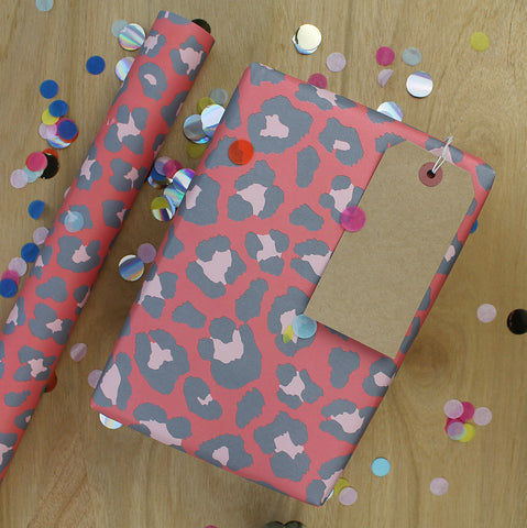 Gift Wrap - Leopard Print Large Grey on Red  (2 sheets - WR34)