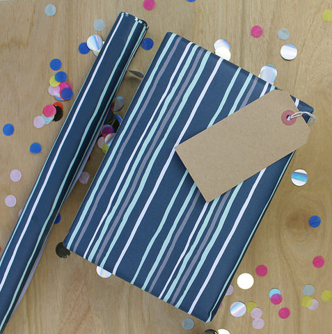Gift Wrap - Blue Striped (2 sheets - WR36)
