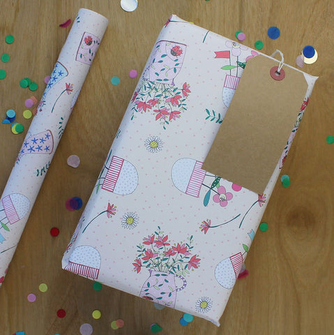Vases on pink Gift Wrap (2 sheets - WR38)