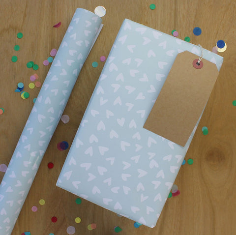 White hearts on blue Gift Wrap (2 sheets - WR41)