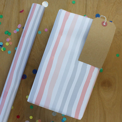 Grey and pink stripe Gift Wrap (2 sheets - WR42)