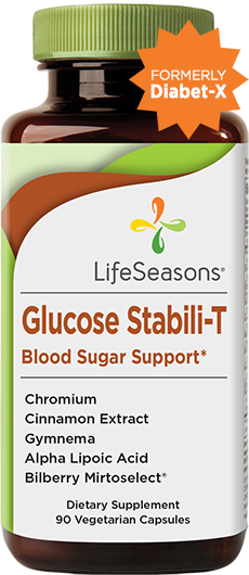 Glucose Stabili-T. Blood sugar support supplement to help glucose levels. 90 Vegicaps in one bottle.