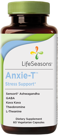 Anxie-T anti stress support. Natural supplements for stress. 60 vegetarian capsules in one bottle.