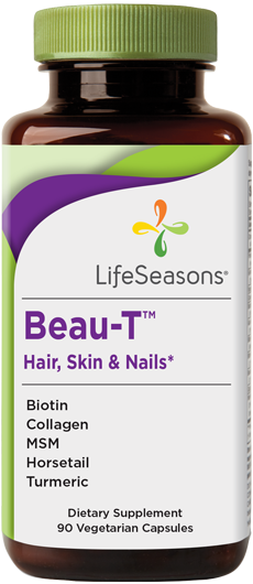 Buy Beau-T online. Beauty supplement containing Biotin, Collagen, MSM, Horsetail, and Turmeric to help nourish hair, skin, & nails. 90 Capsules.