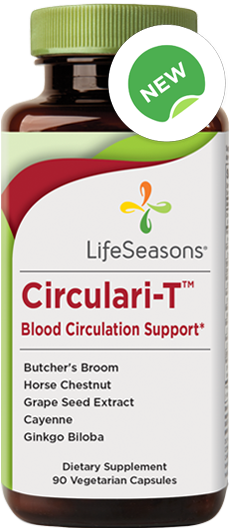 Buy Circulari-T online. Supplement for restless legs containing Butcher's Broom, Ginkgo Biloba, Grape Seed Extract, Cayenne, Horse Chestnut.