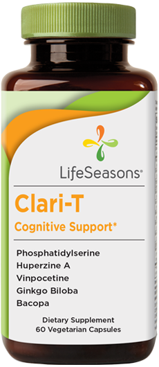 Buy Clari-T online. Memory and brain health supplement containing Bacopa, Ginkgo Biloba, Olive Leaf, Ginger Root, Phosphatidylserine. Formula helps strengthen your cognitive memory. 60 Capsules.