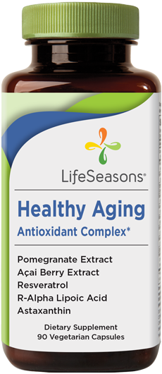 Buy Healthy Aging online. Natural anti-aging supplement containing Pomegranate, Acai Berry Extract, Resveratrol, Astaxanthin. 90 Capsules.
