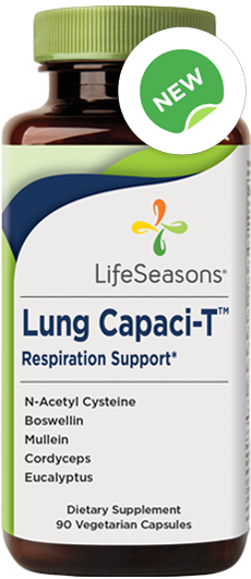Buy Lung Capaci-T supplement online. Natural cough expectorant containing N-Acetyl Cysteine, Mullein, Cordyceps, Eucalyptus, Boswellin.