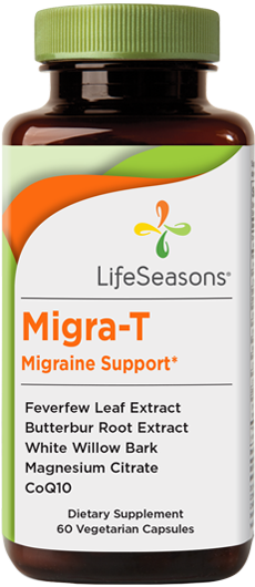 Buy Migra-T online. Migraine support supplement containing Feverfew Leaf Extract, Butterbur Root Extract, White Willow Bark, and Magnesium Citrate to help remedy headaches. 60 Capsules.