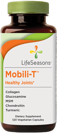 Buy Mobili-T online. Joint pain supplement containing Collagen, Glucosamine, MSM, Chondroitin, Turmeric to help support joint health. 90 Capsules.