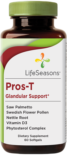 Buy Pros-T online. Prostate health supplement containing Saw Palmetto, Swedish Flower  Pollen, Nettle Root, Vitamin D3, Phytosterol Complex. Supports glandular health. 60 Capsules.