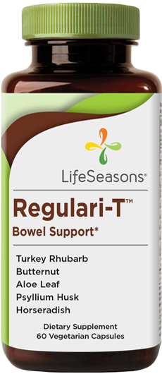 Buy Regulari-T online. Bowel support and gut health supplement containing Turkey Rhubarb Root, Butternut Root Bark, Aloe Vera. 60 Capsules.