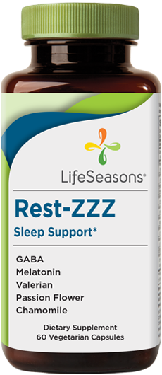 Buy Rest-ZZZ online. Natural sleep aid supplement containing GABA, Melatonin, Valerian, Passion Flower, Chamomile. Aids in natural sleep support. 60 Capsules.