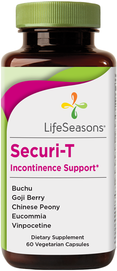 Buy Securi-T online. Incontinence support and urinary tract supplement containing Buchu, Goji Berry, Chinese Peony, Eucommia, Vinpocetine. 60 Capsules.