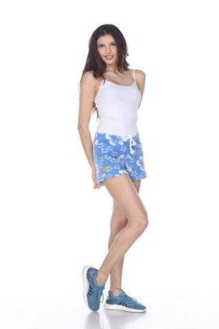 Ladies Duke Fleece Shorts - Blue Hibiscus