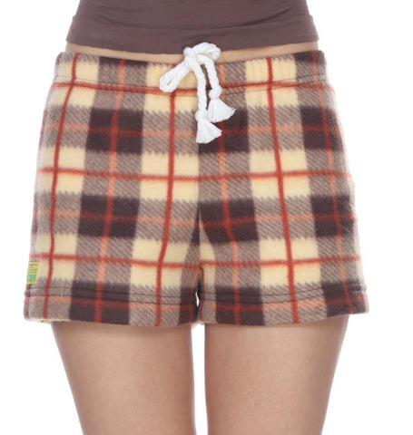 Ladies Duke Fleece Shorts - Brulee Plaid