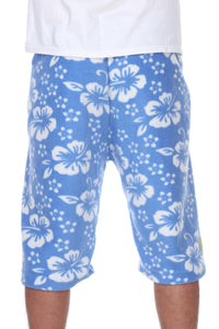 Mens Fleece Shorts - Blue Hibiscus
